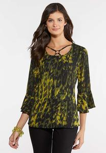 Plus Size Jungle Print Lattice Top