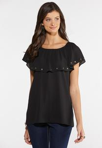Plus Size Grommet Off The Shoulder Top