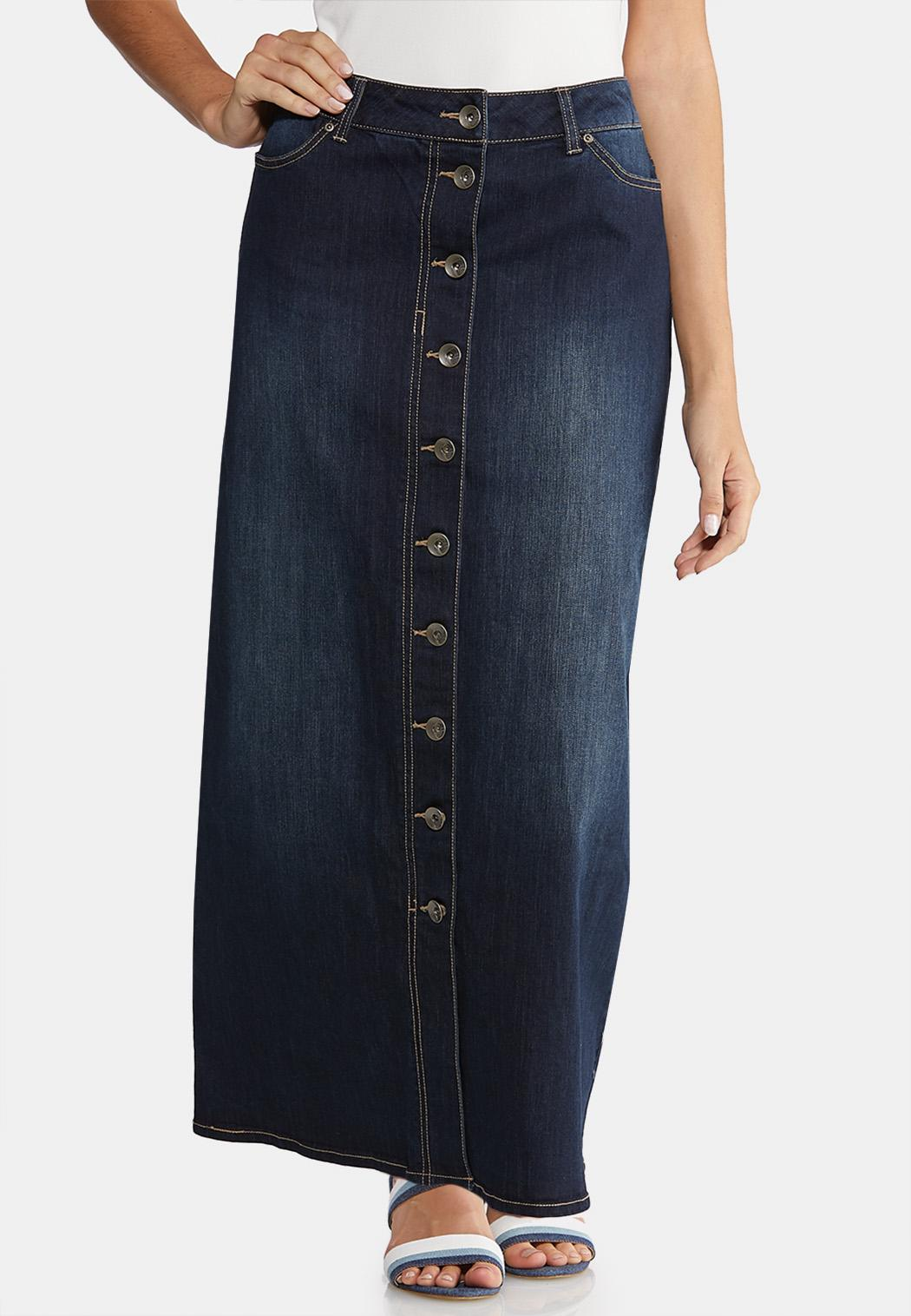 Plus Size Button Front Denim Maxi Skirt