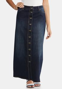 Plus Size Button Front Denim Maxi Skirt