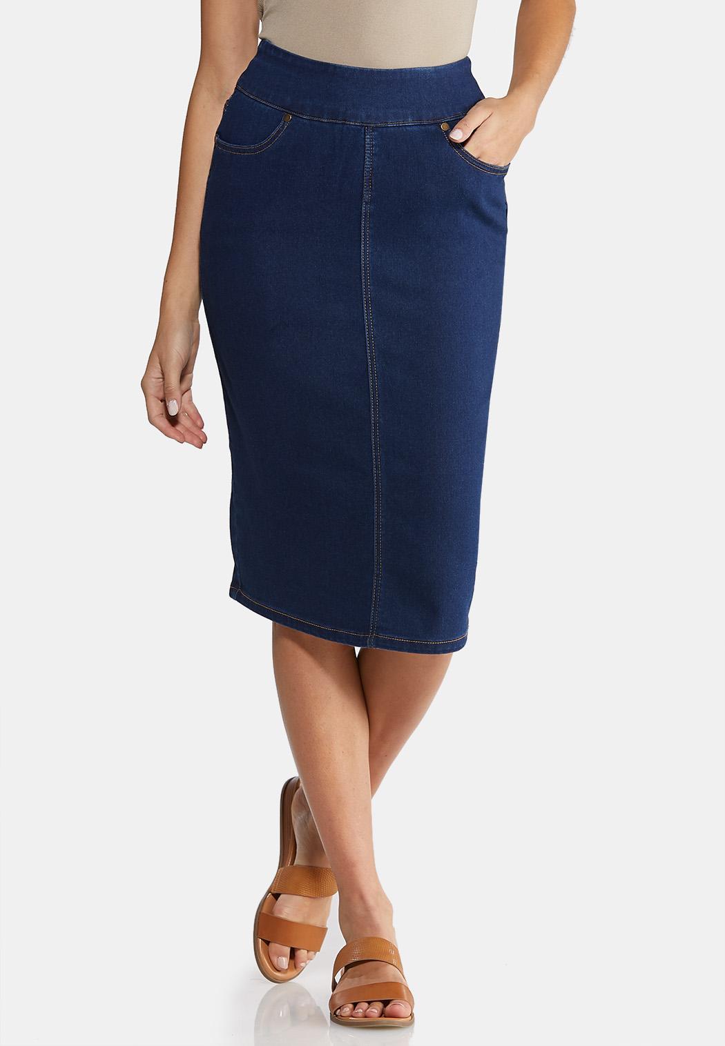 Plus Size Pull-On Denim Skirt