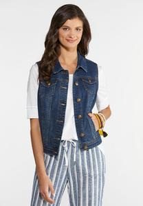 Plus Size Dark Wash Denim Vest