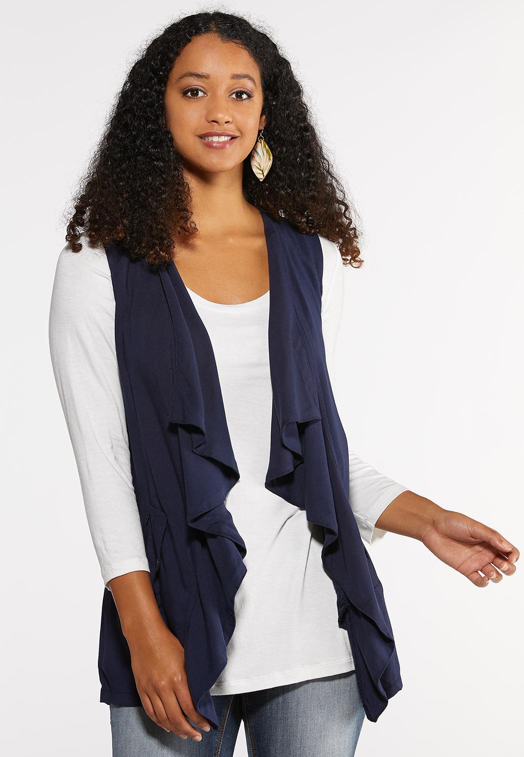 Plus Size Drape Front Utility Vest