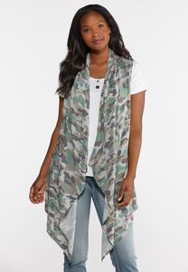 Plus Size Printed Draped Vest