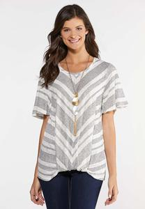 Plus Size Mitered Knit Tee