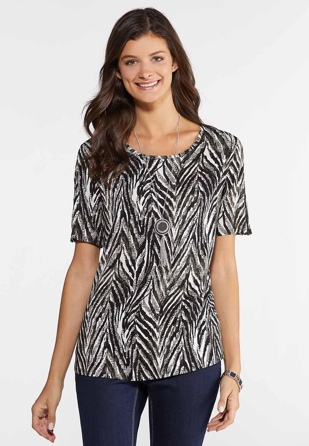 Plus Size Lattice Sleeve Zebra Top