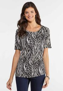 Plus Size Lattice Sleeve Zebra Top