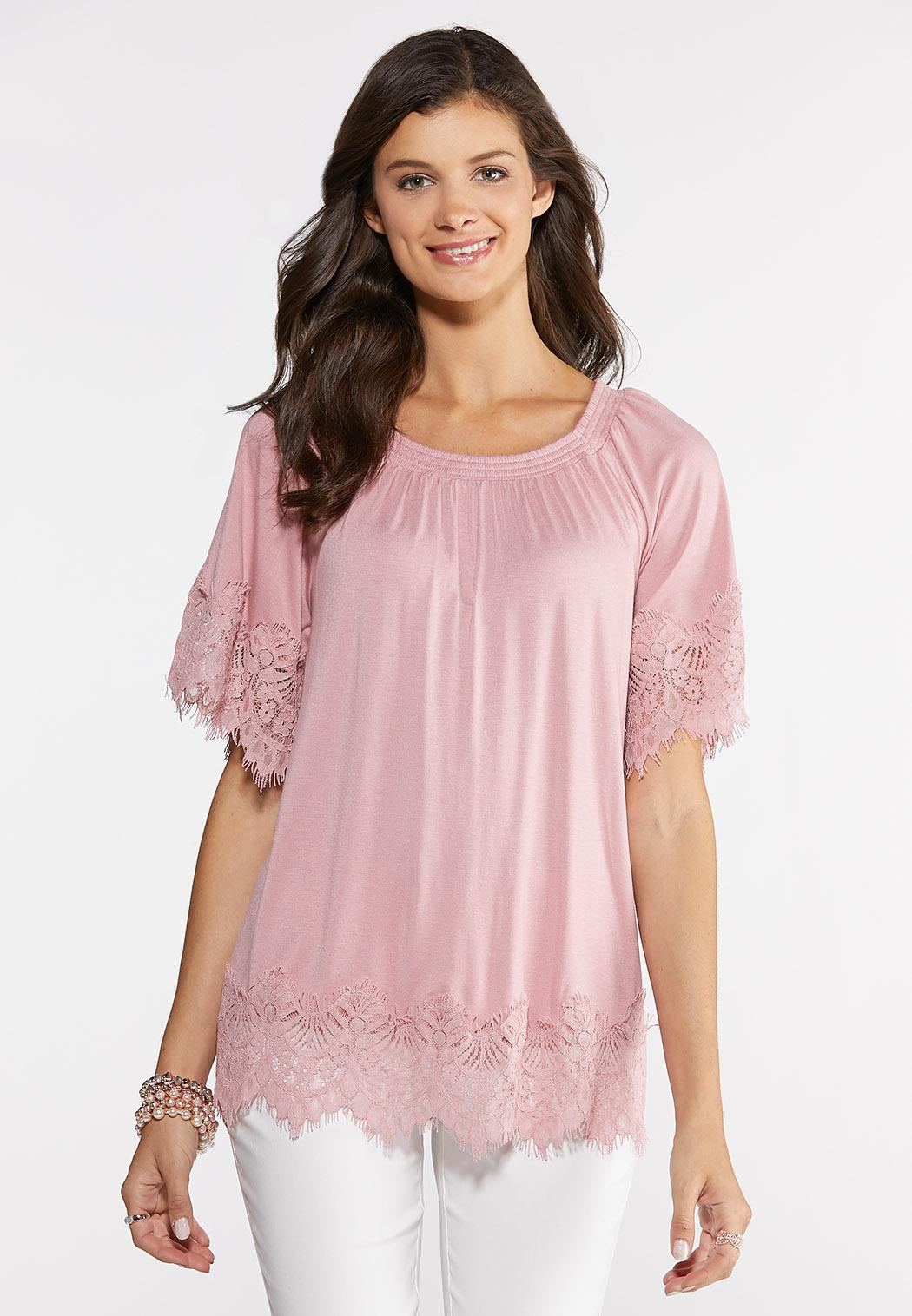 e0c986a7625221 Rose Lace Trim Top Tees & Knit Tops Cato Fashions