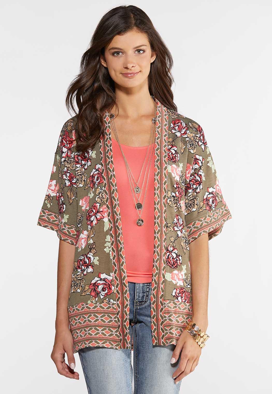 Floral Border Knit Kimono