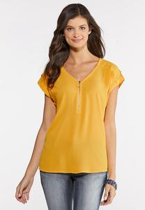 Zippered V-Neck Top