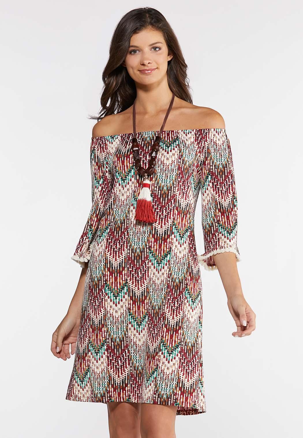 Plus Size Puff Tassel Trim Dress Plus Sizes Cato Fashions