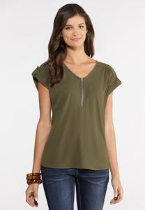 Plus Size Zippered V-Neck Top