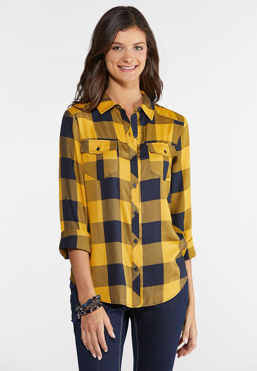 Gold And Navy Plaid Shirt