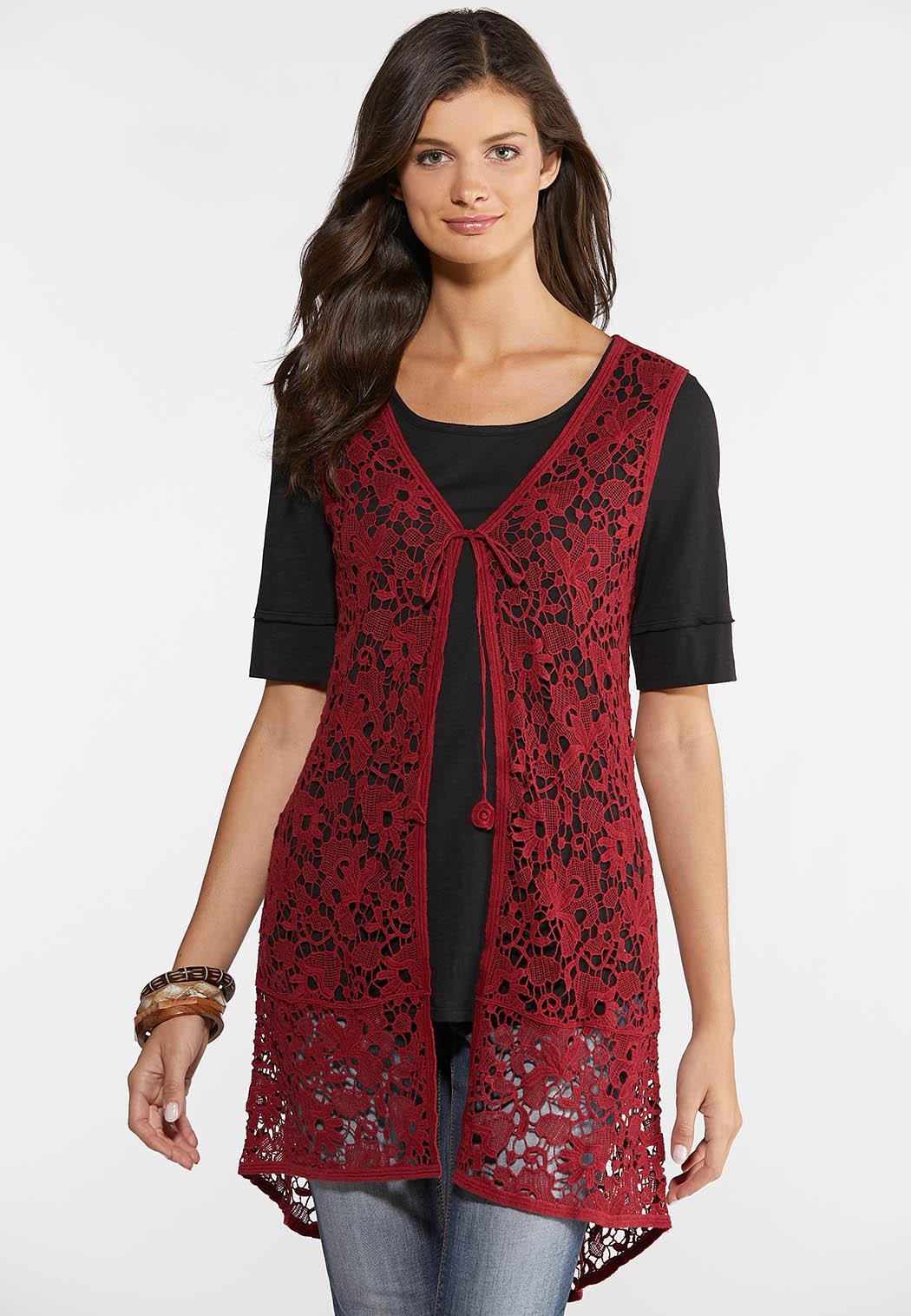 Plus Size Crochet High-Low Vest