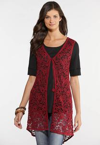 Plus Size Crochet High-Low Vest