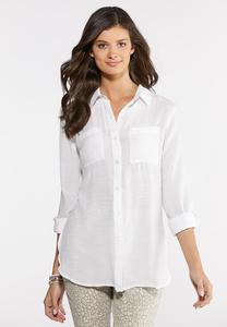 Plus Size Textured High-Low Tunic