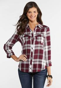 Plus Size Wine Plaid Shirt