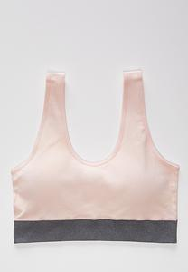 Pink Ribbed Sports Bra