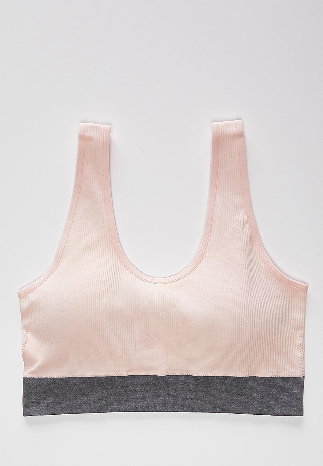Plus Size Pink Ribbed Sports Bra