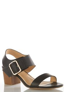 Wide Width Buckle Strap Heeled Sandals