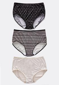 Plus Size Neutral Print Panty Set