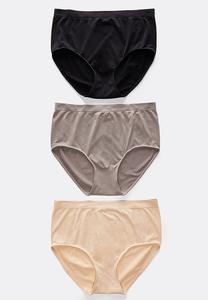 Plus Size Seamless Solid Panty Set