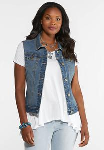 Plus Size Denim Trucker Vest