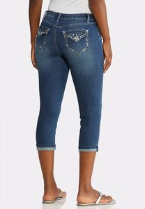 Petite Cropped Crystal Pocket Jeans