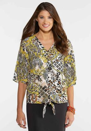 Plus Size Mixed Print Button Up Top