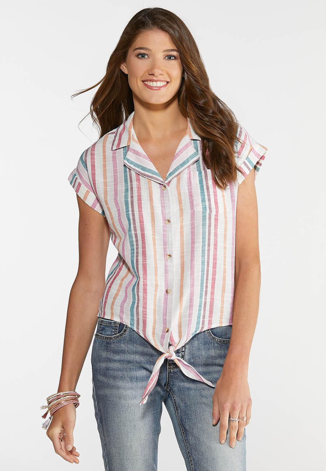 Candy Stripe Linen Top