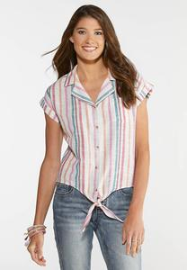 Plus Size Candy Stripe Linen Top