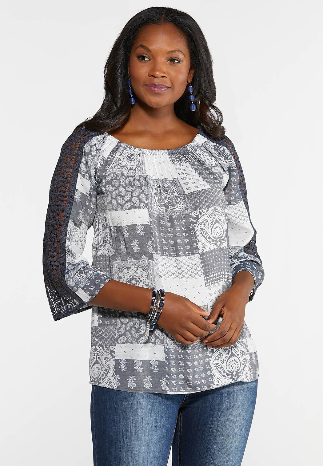 Plus Size Crochet Sleeve Patchwork Top