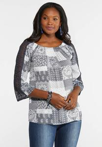 Plus Size Crochet Sleeve Patchwork Top