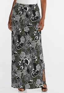 Floral Puff Maxi Skirt