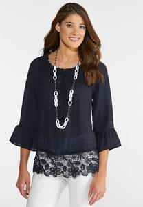 Plus Size Lace Hem Poet Top