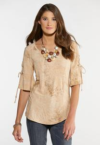 Plus Size Seamed Lace Up Sleeve Top