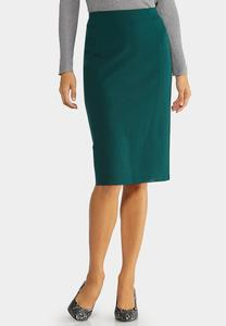 Plus Size Ponte Pull-On Pencil Skirt