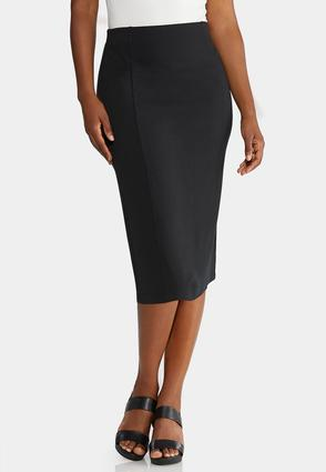 Plus Size Ponte Pull- On Pencil Skirt