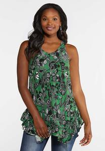 Plus Size Ruffled Green Floral Tank