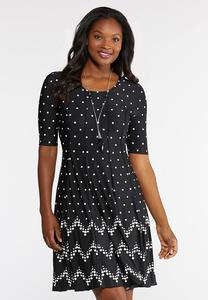 Plus Size Seamed Contrast Polka Dot Dress