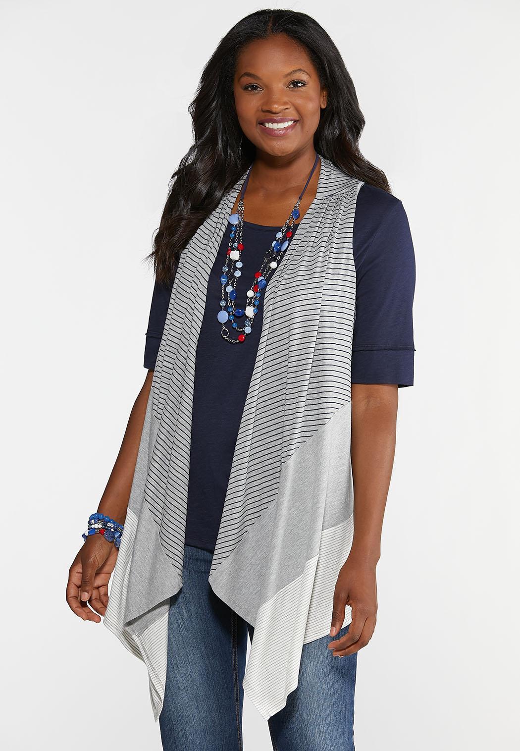 Plus Size Heathered Colorblock Vest