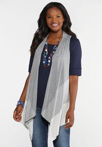 Plus Size Heathered Colorblock Vest