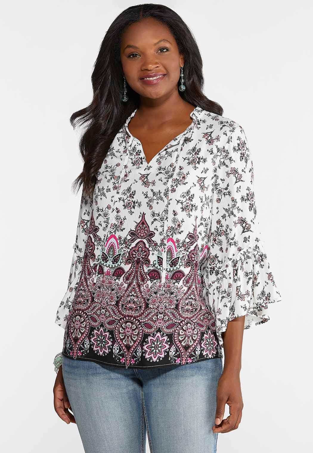 Plus Size Ruffled Country Floral Poet Top