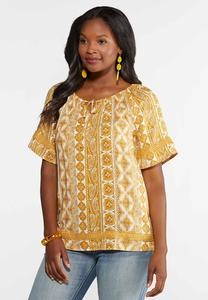 Gold Medallion Poet Top