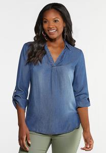 Plus Size Denim Pullover Top