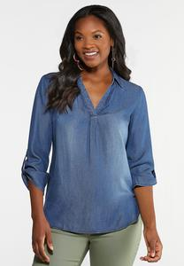 Plus Size Denim Pullover Top