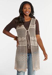 Plus Size Medallion Crochet Vest