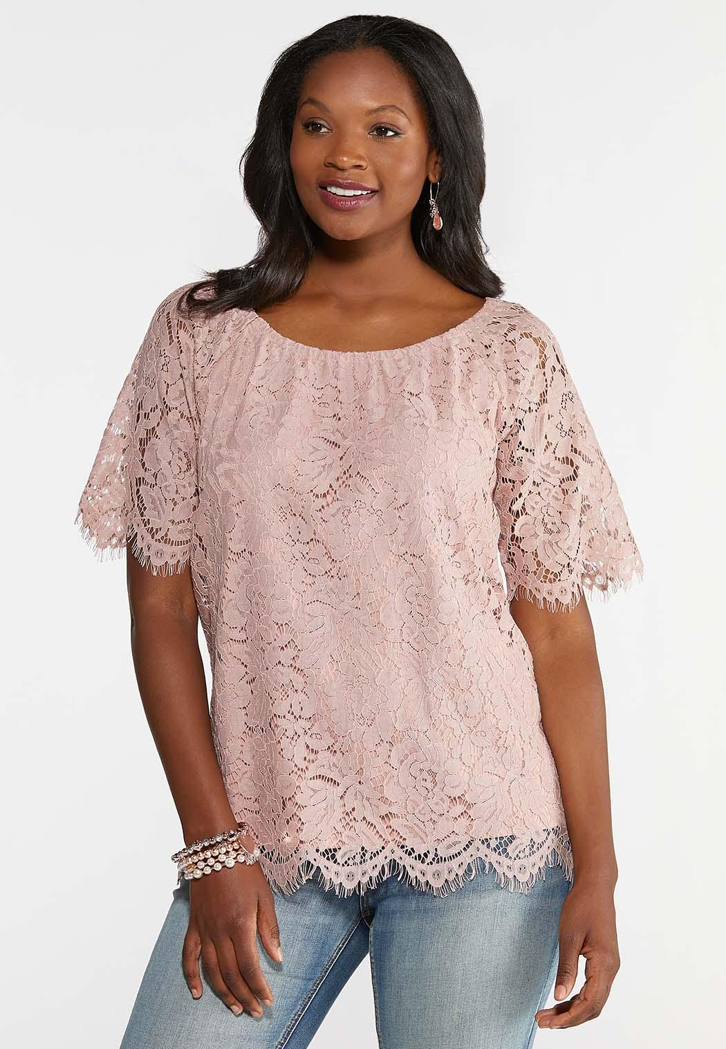 98ed74bb2d779 Vintage Rose Lace Top Tops Cato Fashions