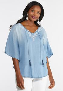 Plus Size Embroidered Chambray Poncho