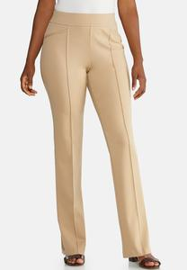 Pintuck Straight Leg Ponte Pants